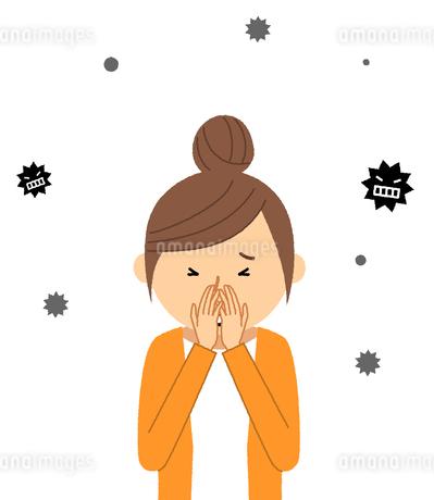 若い女性 風邪 インフルエンザのイラスト素材 [FYI04105864]