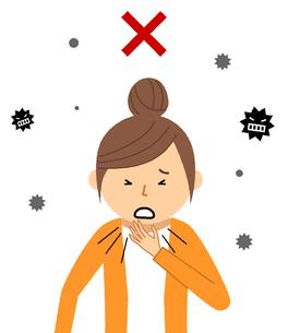 若い女性 風邪 インフルエンザのイラスト素材 [FYI04105866]