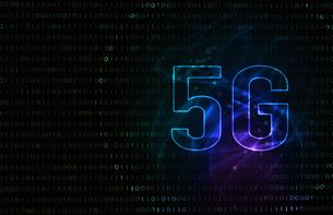 5G第5世代移動通信システムの青背景イメージイラストのイラスト素材 [FYI04106179]