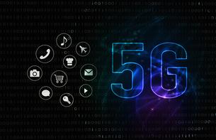 5G第5世代移動通信システムの青背景イメージイラストのイラスト素材 [FYI04106180]