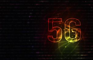 5G第5世代移動通信システムの赤背景イメージイラストのイラスト素材 [FYI04106184]