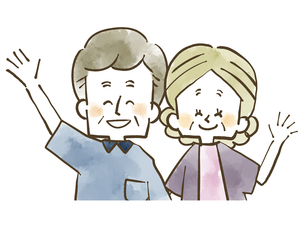 仲良し夫婦-シニア-男女-水彩のイラスト素材 [FYI04106438]