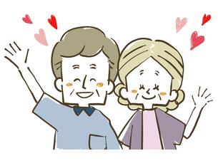 仲良し夫婦-シニア-ハートのイラスト素材 [FYI04106439]