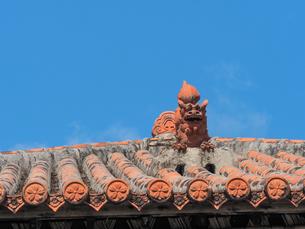 シーサーのある屋根の写真素材 [FYI04107796]