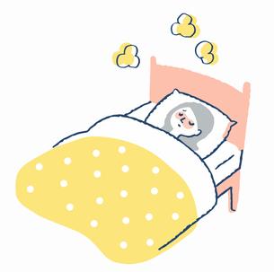 ベッドで寝ている風邪の女性のイラスト素材 [FYI04107874]