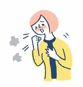 咳をする女性のイラスト素材 [FYI04107876]