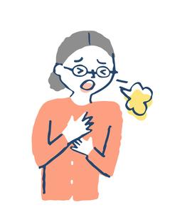 咳をする女性のイラスト素材 [FYI04107878]