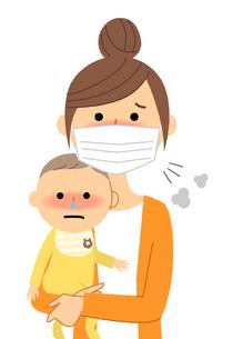 若い女性と赤ちゃん 風邪 インフルエンザのイラスト素材 [FYI04107908]