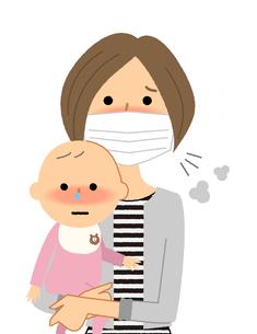 若い女性と赤ちゃん 風邪 インフルエンザのイラスト素材 [FYI04107911]
