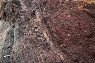 【地学教材用】 木曽川の古生代と中生代の境界を示す地層(スケールあり)の写真素材 [FYI04108536]