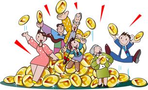 ポイントで買い物をして還元されるお金のイラスト素材 [FYI04108855]