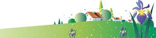 緑の丘の住宅と新緑とあやめのイラスト素材 [FYI04108856]