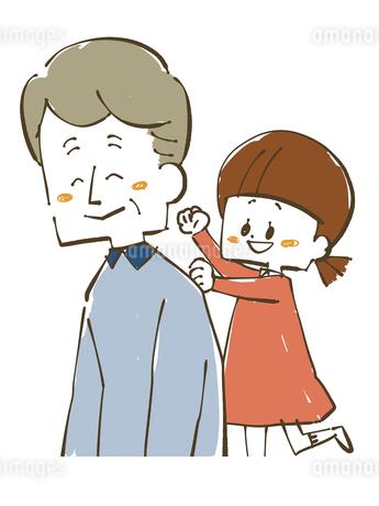 肩たたき-女の子とおじいちゃんのイラスト素材 [FYI04108872]