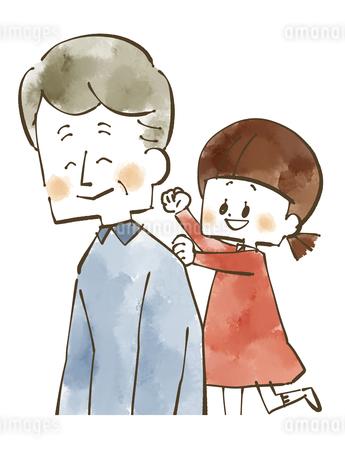 肩たたき-女の子とおじいちゃん-水彩のイラスト素材 [FYI04108873]