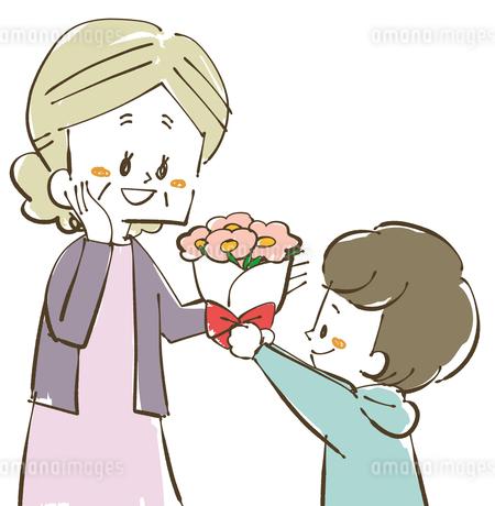 おばあちゃんに花束をプレゼントのイラスト素材 [FYI04108874]