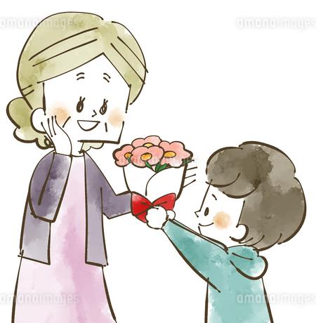 おばあちゃんに花束をプレゼント-水彩のイラスト素材 [FYI04108875]