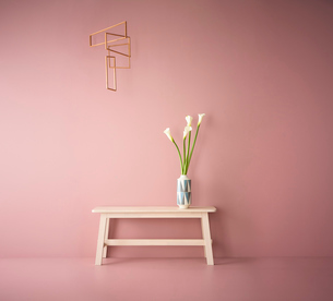 ピンクの壁と床に置かれたベンチの上の花と吊るされたモビールの写真素材 [FYI04109113]