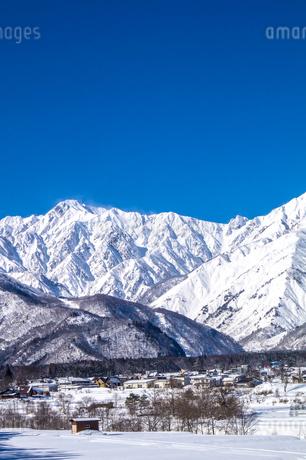 信州 長野県白馬村 冬の白馬村郊外と五竜岳の写真素材 [FYI04109399]