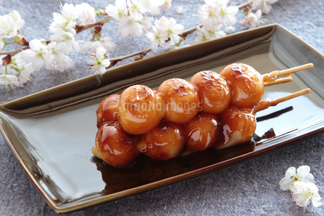 みたらし団子と桜の写真素材 [FYI04109469]