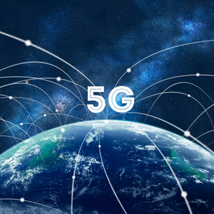5G-第5世代移動通信システムと地球の写真素材 [FYI04109494]