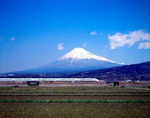 旧型車両300系の東海道新幹線と富士山の写真素材 [FYI04109535]