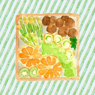 水彩 お弁当 おかずと果物の詰め合わせ 水彩 のイラスト素材 [FYI04109639]