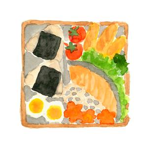お弁当 おにぎり 鮭 ゆで卵 ウィンナー 人参 レタス ブロッコリー レンコン ミニトマト 水彩のイラスト素材 [FYI04109640]