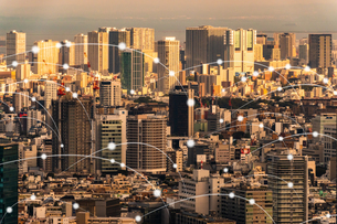 5G-第5世代移動通信システムと東京の写真素材 [FYI04109996]