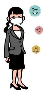 ウイルスと女性のイラスト素材 [FYI04110496]