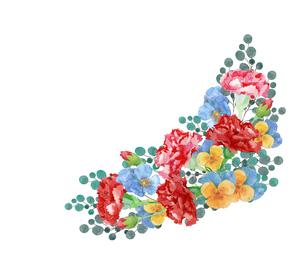 カーネーションとパンジー水彩画のイラスト素材 [FYI04111292]