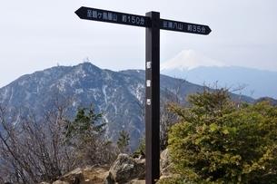 本社ヶ丸の山頂と富士山の写真素材 [FYI04111344]