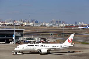 羽田空港のボーイング787(日本航空)の写真素材 [FYI04111356]