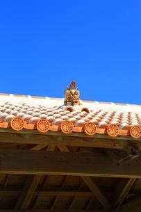 赤瓦屋根とシーサーの写真素材 [FYI04112571]