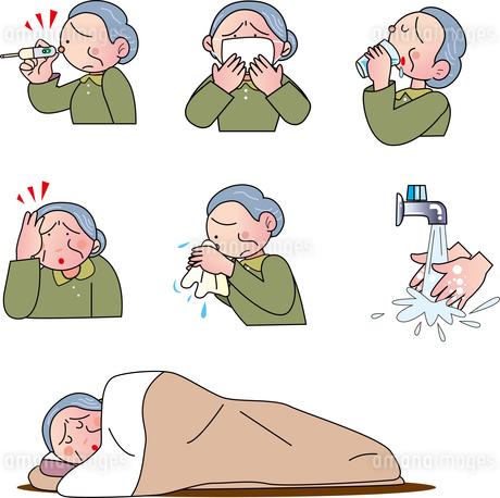 ウイルス感染する老人のイラスト素材 [FYI04112582]