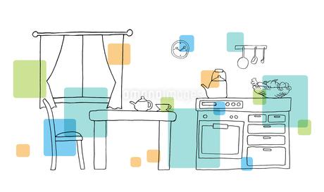 キッチン手描き線画のイラスト素材 [FYI04113454]