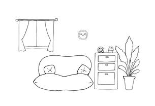 部屋の手描き線画のイラスト素材 [FYI04113456]