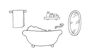 バスルーム手描き線画のイラスト素材 [FYI04113458]