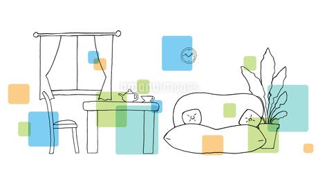 リビングルーム手描き線画のイラスト素材 [FYI04113461]