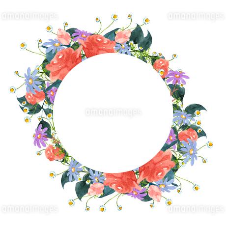 薔薇と花のフレームのイラスト素材 [FYI04114509]