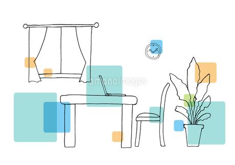 部屋の手描き線画のイラスト素材 [FYI04114512]