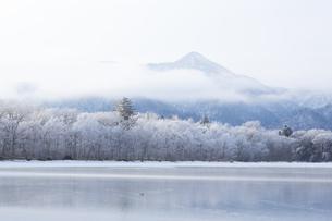 厳冬の朝  霧氷に包まれた屈斜路湖畔の写真素材 [FYI04114755]