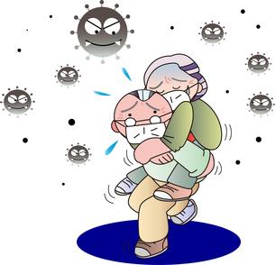 新型コロナウイルス感染症にかかる老人のイラスト素材 [FYI04114900]