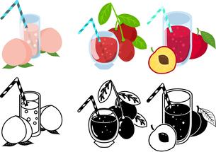 ピーチジュースとナツメジュースとスモモジュースの可愛いアイコンのイラスト素材 [FYI04114945]
