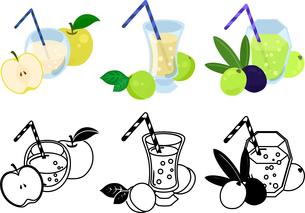 梨ジュースと梅ジュースとオリーブジュースの可愛いアイコンのイラスト素材 [FYI04114946]