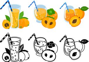 ビワジュースと柿ジュースとアプリコットジュースの可愛いアイコンのイラスト素材 [FYI04114947]