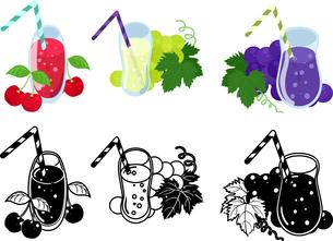 さくらんぼジュースとマスカットジュースとぶどうジュースの可愛いアイコンのイラスト素材 [FYI04114949]