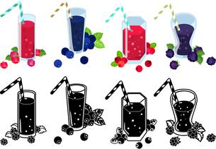 ラズベリージュースとブルーベリージュースとクランベリージュースとブラックベリージュースの可愛いアイコンのイラスト素材 [FYI04114950]