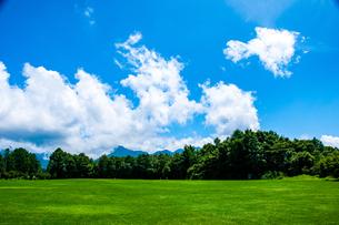 八ヶ岳農場芝生広場と夏空の写真素材 [FYI04115400]