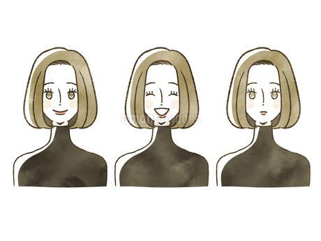 女性-表情のイラスト素材 [FYI04115459]