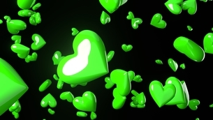 Green heart objects in black background.のイラスト素材 [FYI04115719]